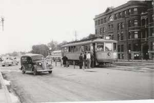 July 12, 1948. Fort Garry Court is in the background,(think VJ's and parking lot now) the corner of Main and Broadway